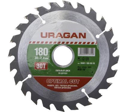 Диск пильный твердосплавный URAGAN Ф180х30мм 30зуб. (36801-180-30-30)