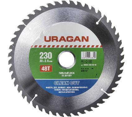 Диск пильный твердосплавный URAGAN Ф230х30мм 48зуб. (36802-230-30-48)