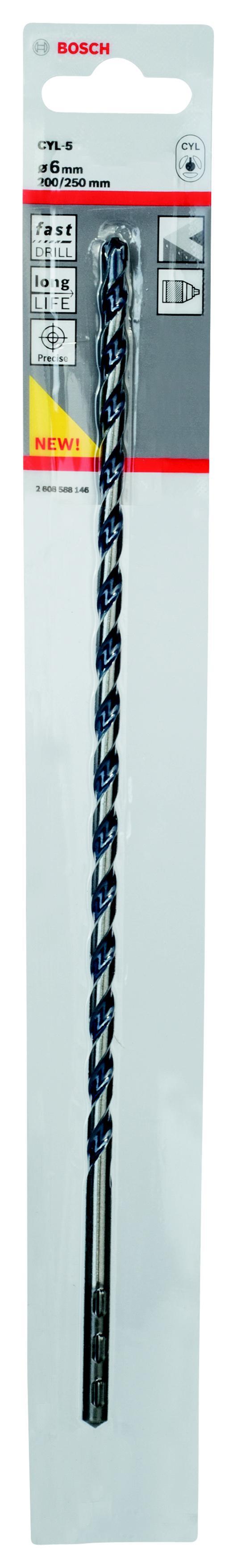 Сверло по камню Bosch Cyl-5 Ф6x200x250мм (2.608.588.146) сверло универсальное bosch cyl 9 multiconstr