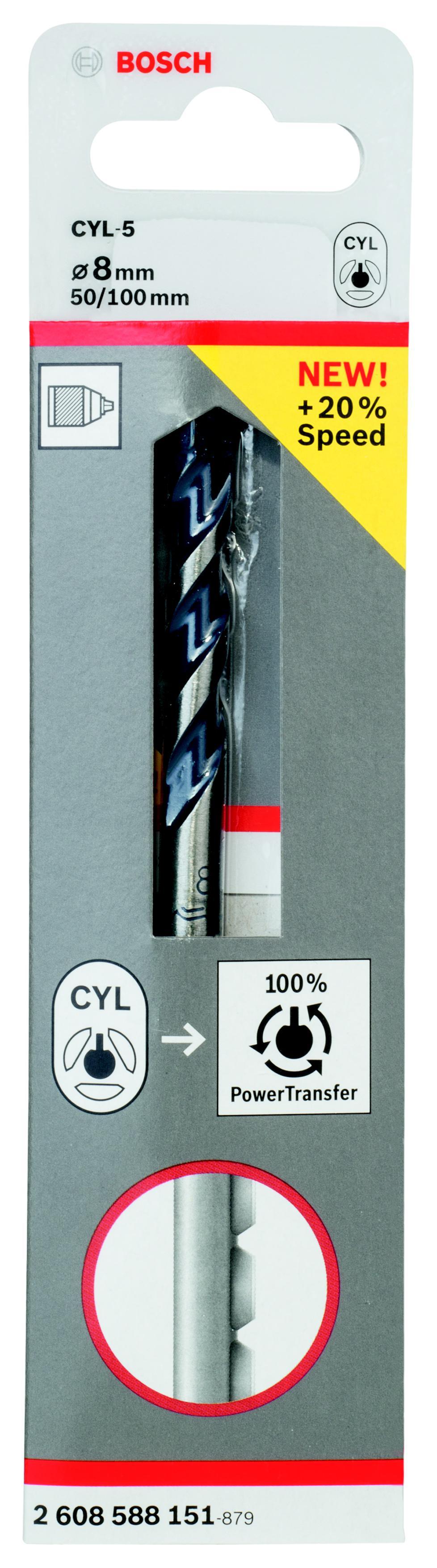 Сверло по камню Bosch Cyl-5 Ф8x50x100мм (2.608.588.151) сверло универсальное bosch cyl 9 multiconstr