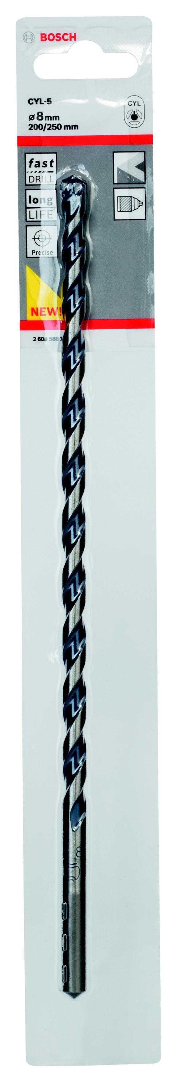 Сверло по камню Bosch Cyl-5 Ф8x200x250мм (2.608.588.153) сверло универсальное bosch cyl 9 multiconstr