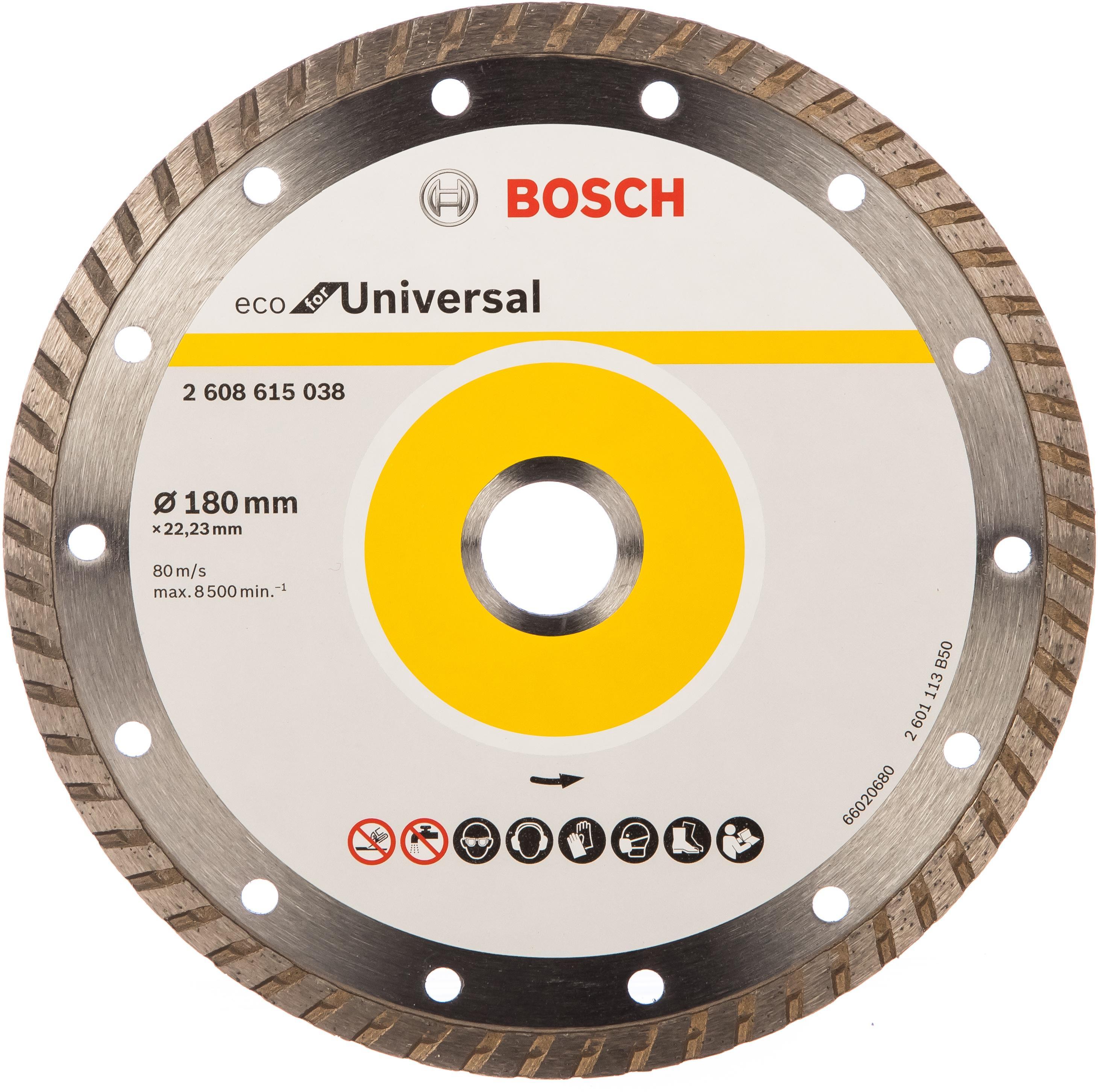 Круг алмазный Bosch Eco universal turbo Ф180-22мм (2.608.615.038) круг алмазный практика 030 740 da 180 22t 180 х 22 турбо