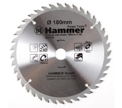 Диск пильный твердосплавный HAMMER Ф180х20мм 40зуб.