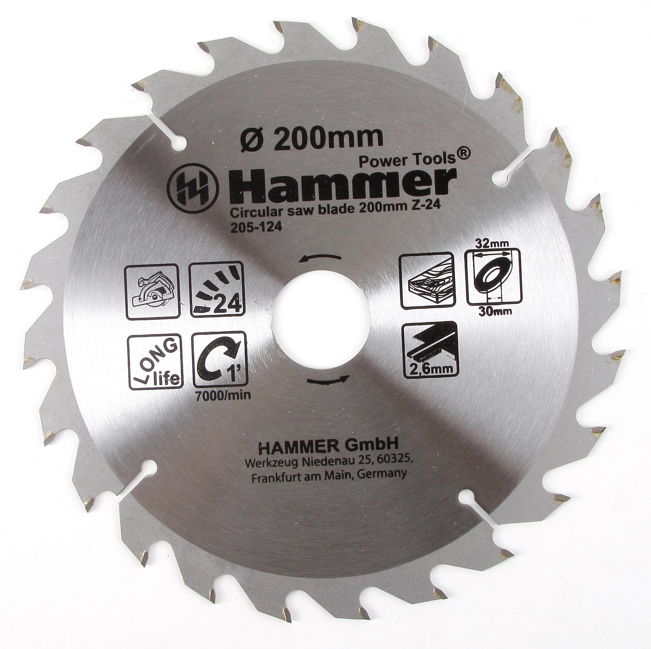 Диск пильный твердосплавный Hammer 200х32/30мм 24 зуб. диск пильный твердосплавный hammer 335х32 30мм 64 зуб