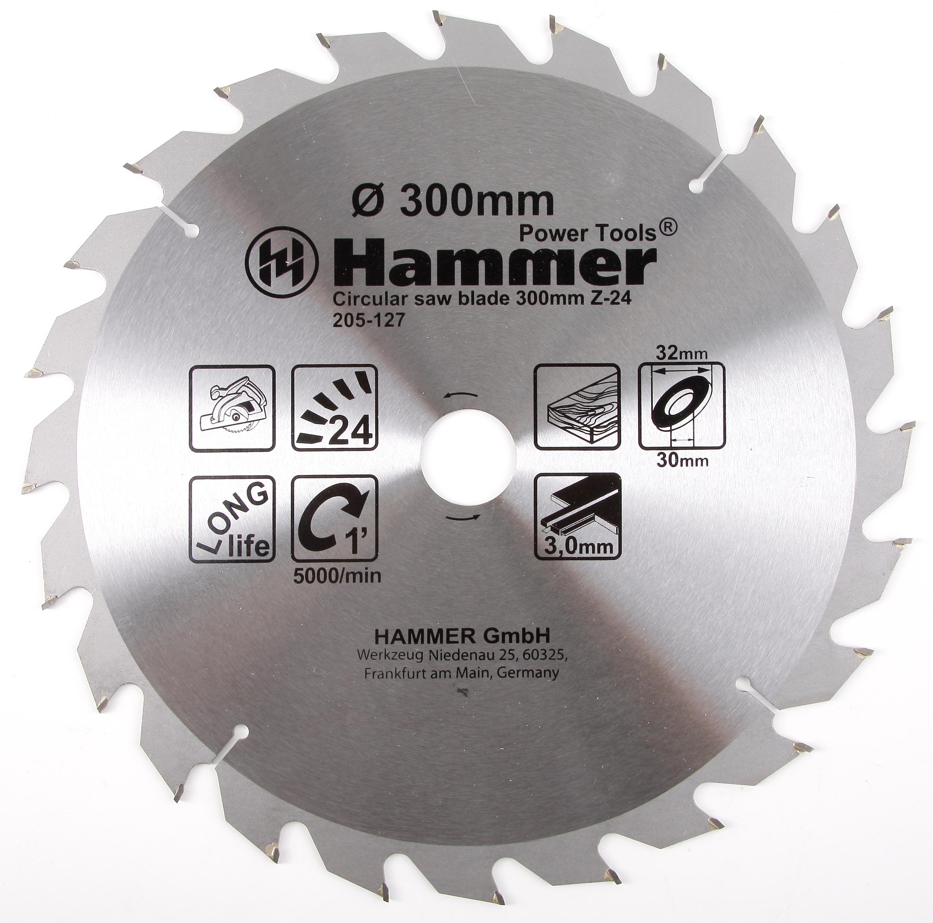 Диск пильный твердосплавный Hammer 300х32/30мм 24 зуб. диск пильный твердосплавный hammer 335х32 30мм 64 зуб