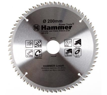 Диск пильный твердосплавный HAMMER Ф200х30мм 64зуб.