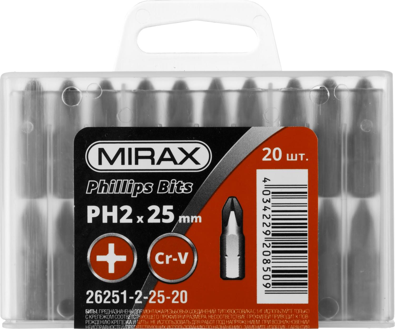 Бита Mirax Ph2 c 1/4'' длина 25мм 20шт sargan гарпун сарган д арбалетов зацеп прорез сталь 174 ph d 6 25мм 105 см 1 флажок
