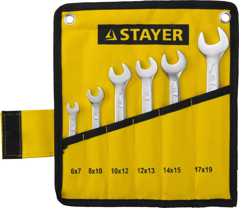 Набор ключей Stayer 27035-h6 (6 - 19 мм) набор ключей трубных stayer 2719 h6