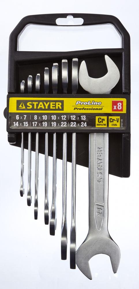 Набор ключей Stayer 27037-h8 (6 - 24 мм) набор гаечных рожковых ключей 6 24мм 8шт stayer profi 27037 h8