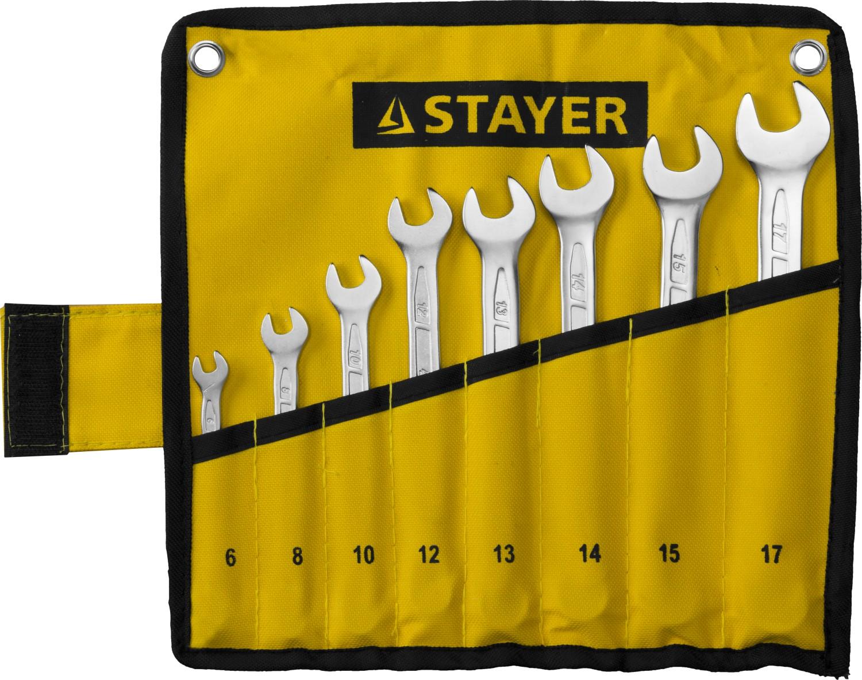 Набор ключей Stayer 27081-h8 (6 - 17 мм) набор торцевых головок jonnesway 3 8dr 6 22 мм и комбинированных ключей 7 17 мм 36 предметов