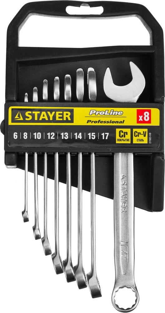 Набор ключей Stayer 27083-h8 (6 - 17 мм) набор торцевых головок jonnesway 3 8dr 6 22 мм и комбинированных ключей 7 17 мм 36 предметов