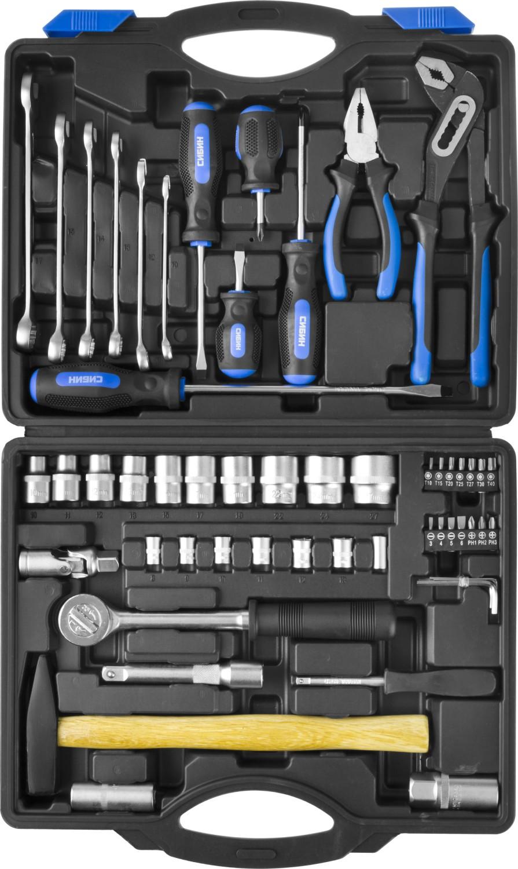 Набор инструментов СИБИН 27765-h56 набор инструментов сибин 27765 h56 слесарно монтажного инструмента 56предметов
