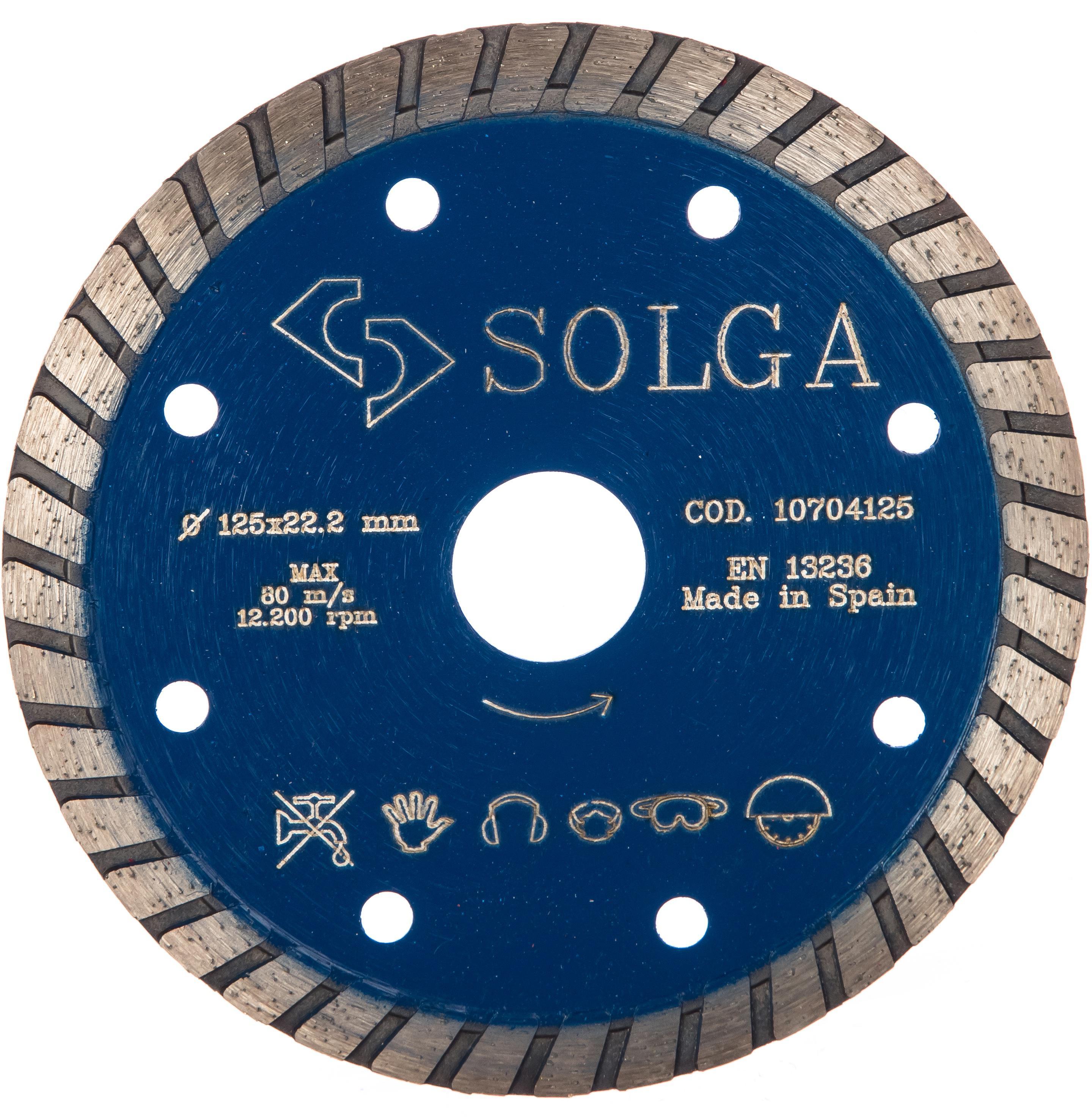 Круг алмазный Solga diamant 10704125 диск алмазный diam 150х22 2мм master турбо 000160