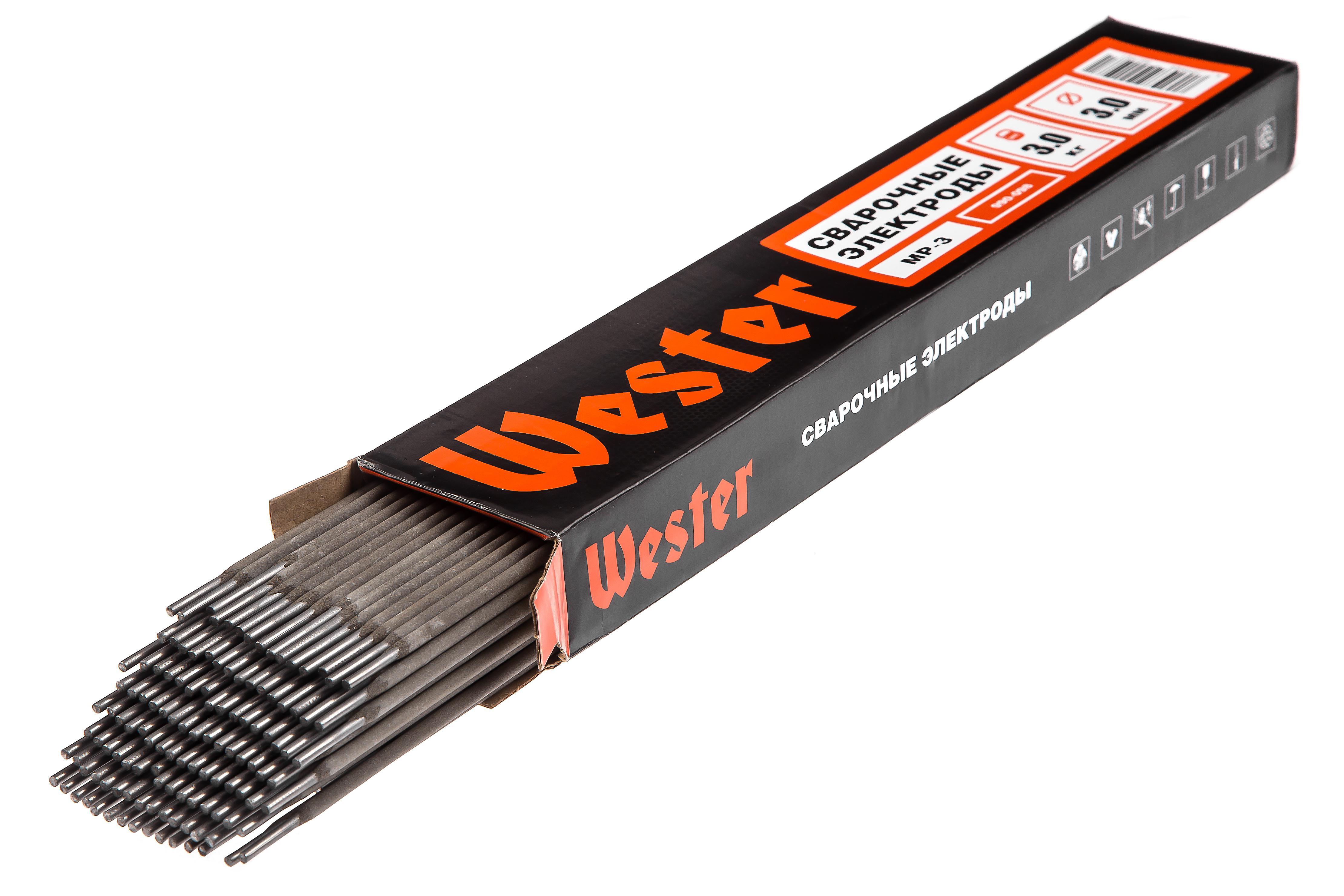 Электроды для сварки Wester МР-3, 3.0 мм, 3 кг электроды спецэлектрод мр 3 синие 4 мм 5 кг