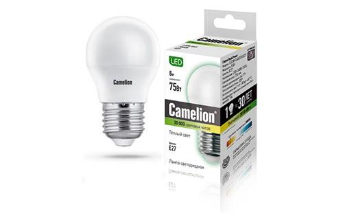 Лампа светодиодная Camelion Led8-g45/830/e27