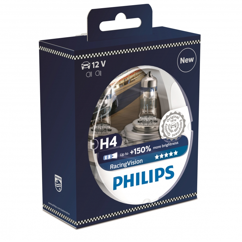Автолампа Philips H4 (60/55) p43t-38+150% racing vision (2шт) 12v /1/10 лампа skyline h4 12v 60 55w p43t 3800k ultra white 2 штуки