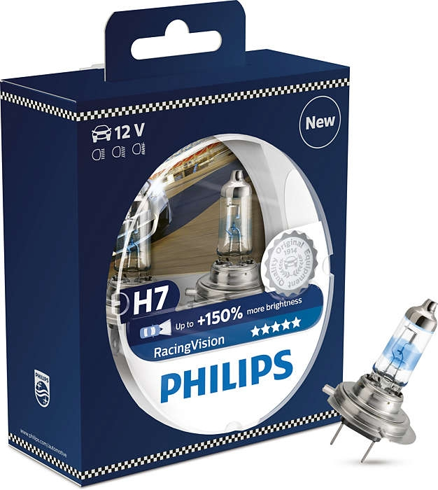 Автолампа Philips H7 (55) px26d+150% racing vision (2шт) 12v /1/5 cross tiger h7