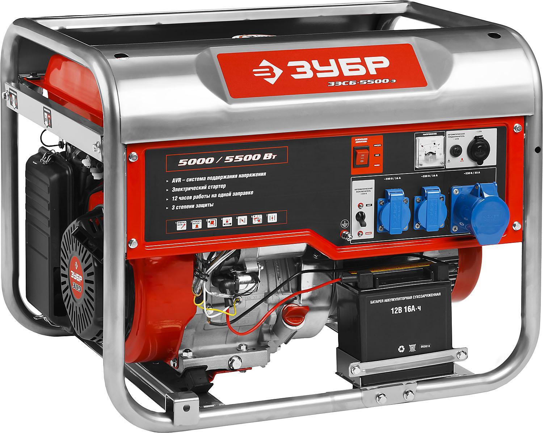 Генератор ЗУБР ЗЭСБ-5500-Э генератор бензиновый ручной и эл пуск 2800 2500вт зубр зэсб 2800 э