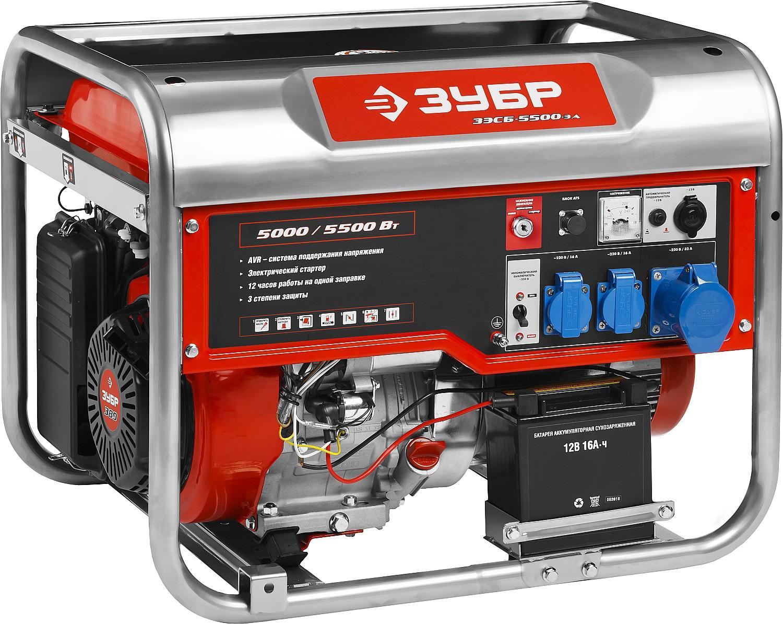 Генератор ЗУБР ЗЭСБ-5500-ЭА генератор бензиновый зубр зэсб 5500 эна