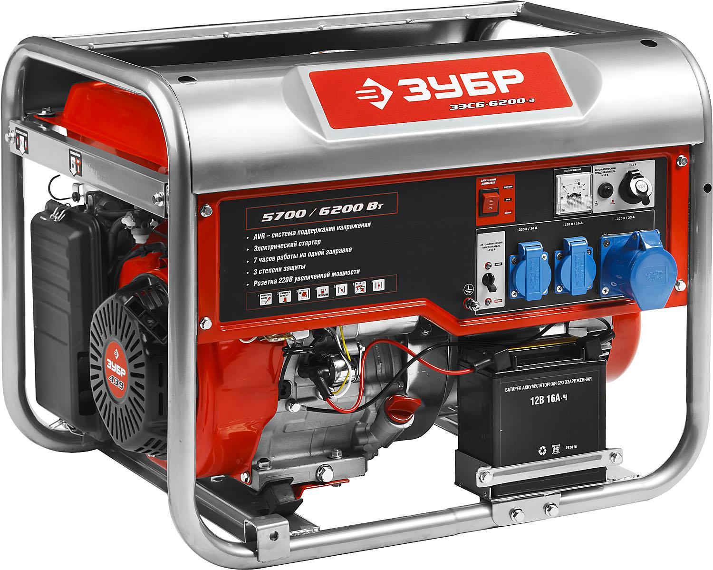 Генератор ЗУБР ЗЭСБ-6200-Э генератор бензиновый ручной и эл пуск 2800 2500вт зубр зэсб 2800 э