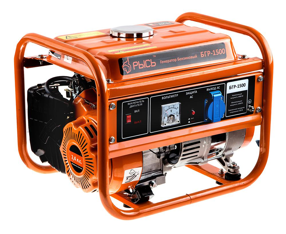 Бензиновый генератор РЫСЬ БГР 1500 двигатель фиат добло 1 9