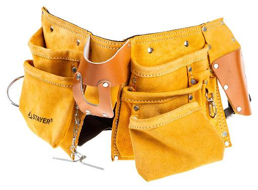 Поясная сумка для инструмента STAYER 38512, кожаная 10 карманов 3 подвески