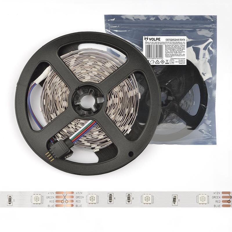 Лента светодиодная Volpe Uls-q334 2835-120led/m-8mm-ip65-dc12v-9.6w/m-5m-dw