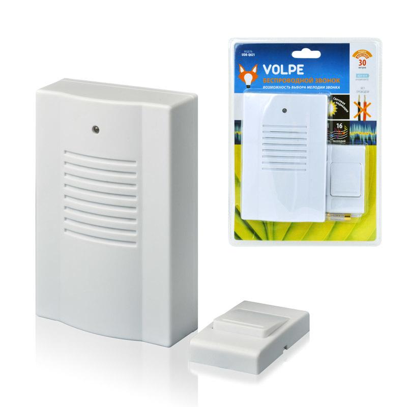 Звонок Volpe Udb-q021 w-r1t1-16s-30m-wh звонок беспроводной volpe q023 16 мелодий дальность 30м белый