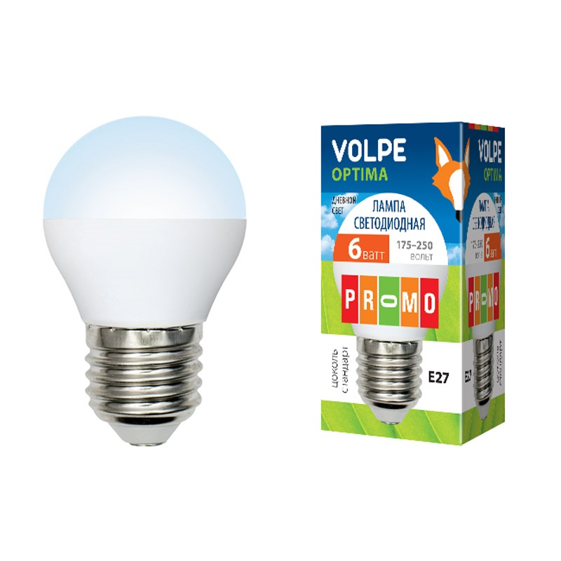 Лампа светодиодная Volpe Led-g45-6w/dw/e27/fr/o лампа светодиодная volpe led g45 6w nw e14 fr s 10шт