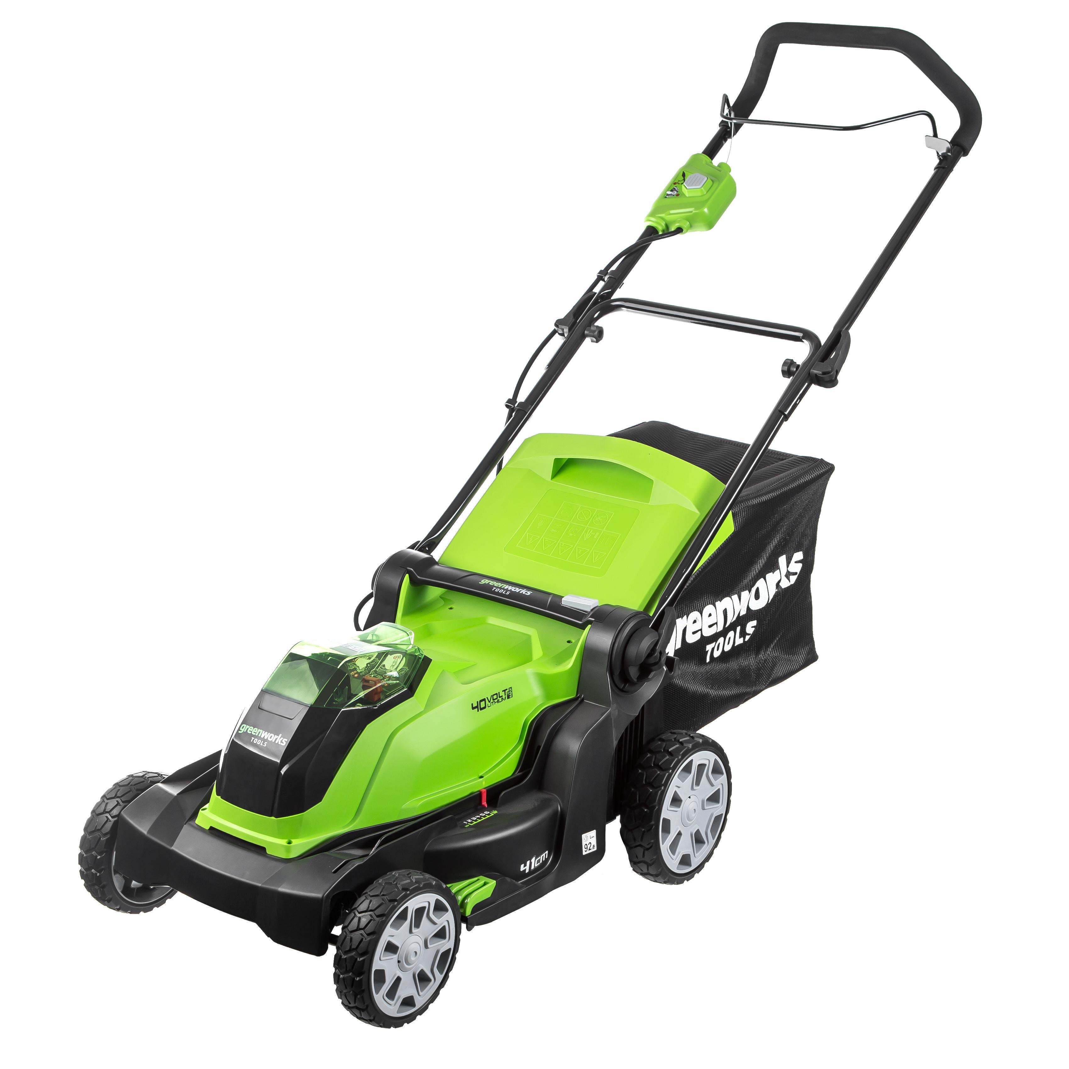 Аккумуляторная газонокосилка Greenworks G40lm40 (2504707) БЕЗ АКК. и ЗУ дрель шуруповерт greenworks gd24bd 3701607 без аккум и зу
