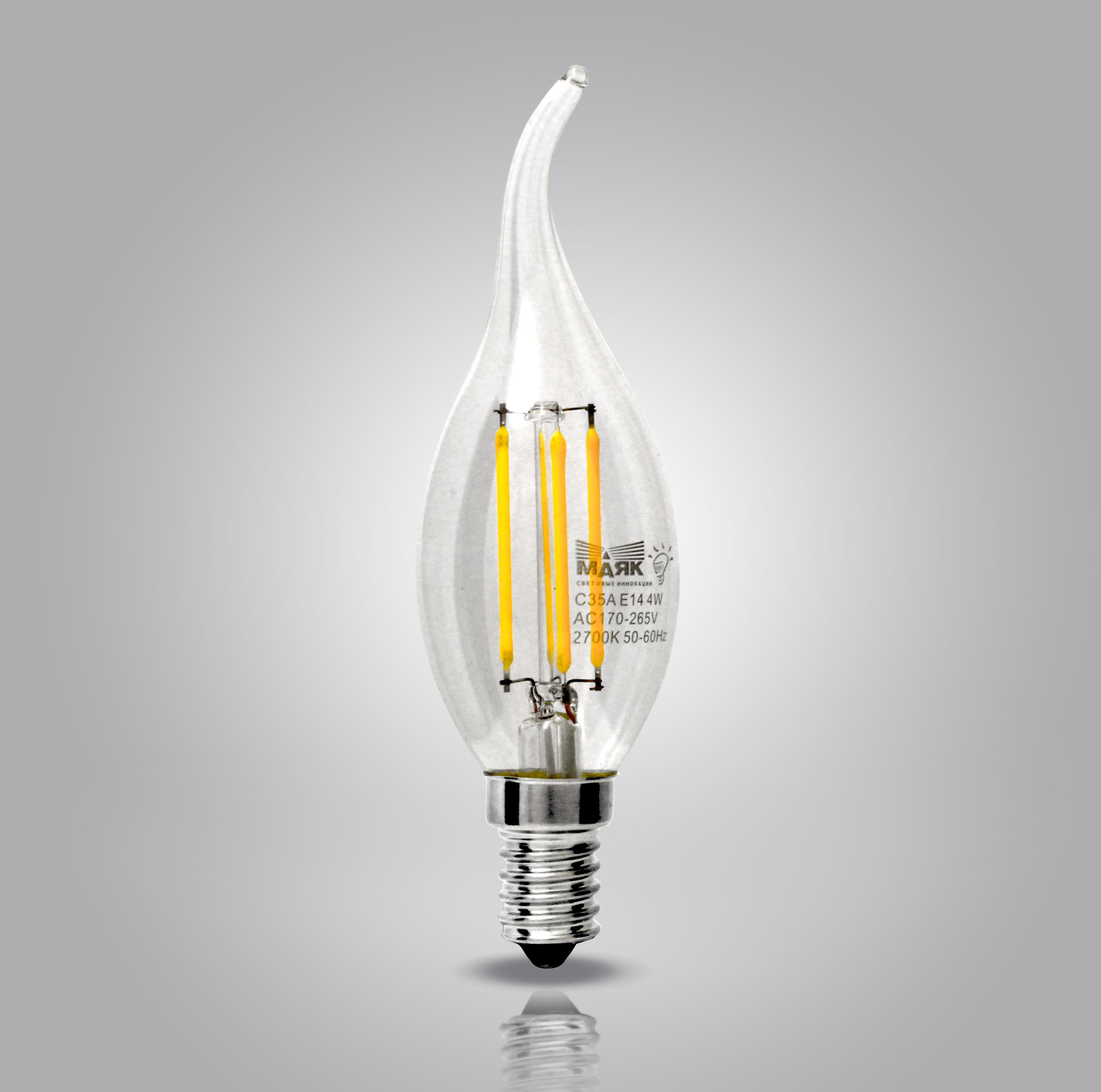 МАЯК - Лампа светодиодная МАЯК Led-c35af/4w/2700 (LBF-C35A-E14/4W/2700-001)