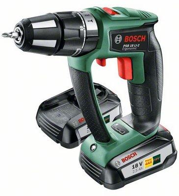 Дрель аккумуляторная Bosch Psb 18 li-2/2 ergonomic (0.603.9b0.301) аккумуляторная ударная дрель шуруповерт bosch psb 1800 li 2 0 603 9a3 320