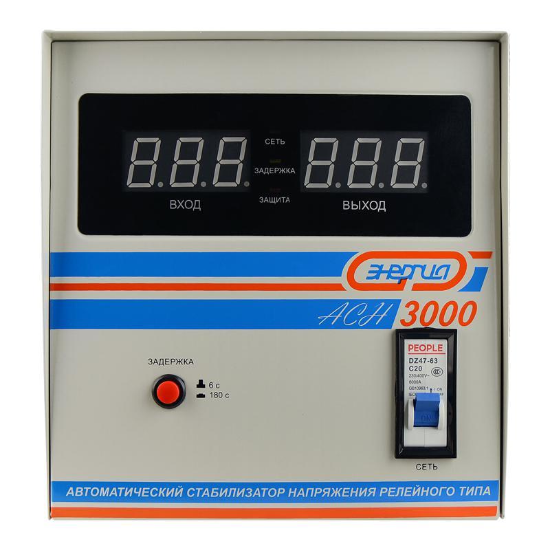 Стабилизатор напряжения ЭНЕРГИЯ АСН-3000 однофазный стабилизатор напряжения upower асн 3000 ii поколение