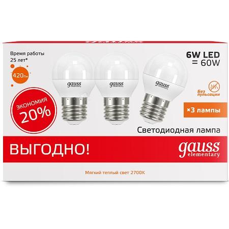 Лампа светодиодная Gauss Led elementary globe 53216t