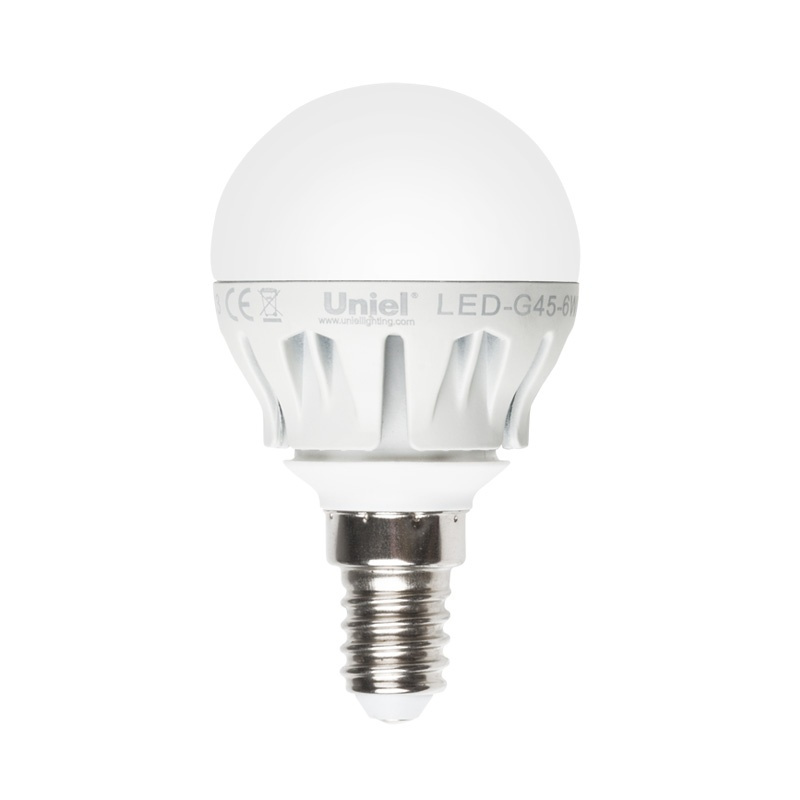 Лампа светодиодная Uniel Led-g45-6w/nw/e14/fr/dim plp01wh лампа светодиодная uniel led cw37 6w nw e14 fr dim plp01wh