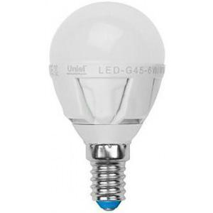 Лампа светодиодная Uniel Led-g45-6w/ww/e14/fr/dim plp01wh лампа светодиодная uniel led cw37 6w nw e14 fr dim plp01wh