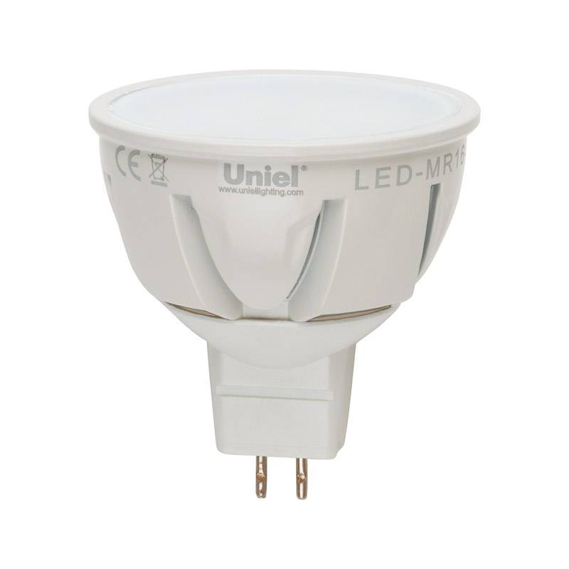 Лампа светодиодная Uniel Led-jcdr-5w/nw/gu5.3/fr/dim plp01wh лампа светодиодная uniel led cw37 6w nw e14 fr dim plp01wh