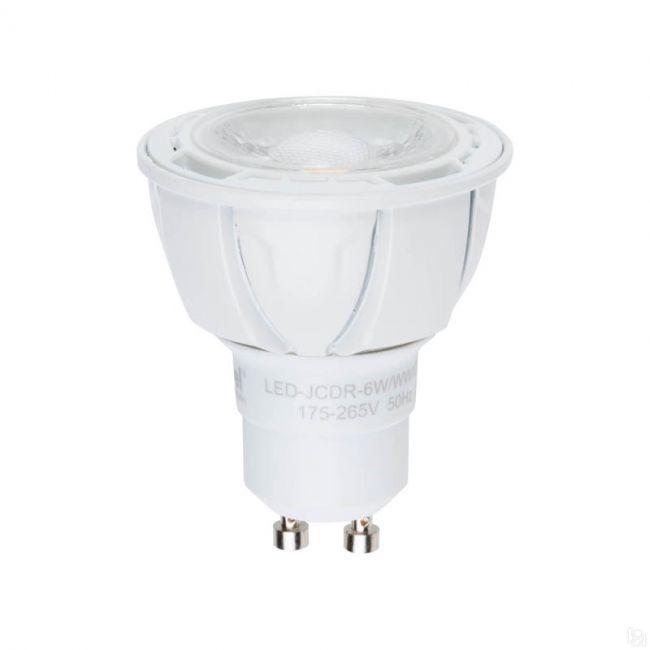 Лампа светодиодная Uniel Led-jcdr-6w/nw/gu10/fr/dim/38d alp01wh лампа светодиодная uniel led cw37 6w nw e14 fr dim plp01wh