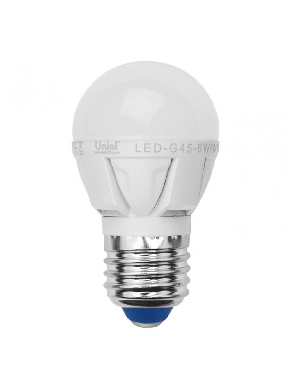 Лампа светодиодная Uniel Led-g45-7w/nw/e27/fr plp01wh лампа светодиодная uniel led cw37 6w nw e14 fr dim plp01wh