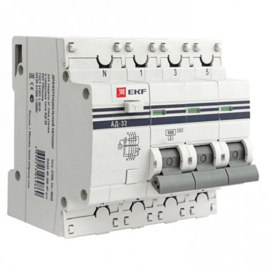 Диф. автомат Ekf Da32-32-30-4p-pro выключатель ekf da32 16 10 pro