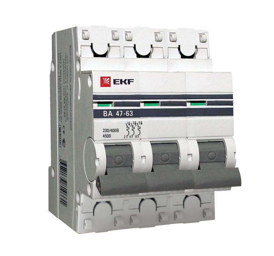 Выключатель Ekf Mcb4763-3-63d-pro хомут ekf plc c o 3 6x200