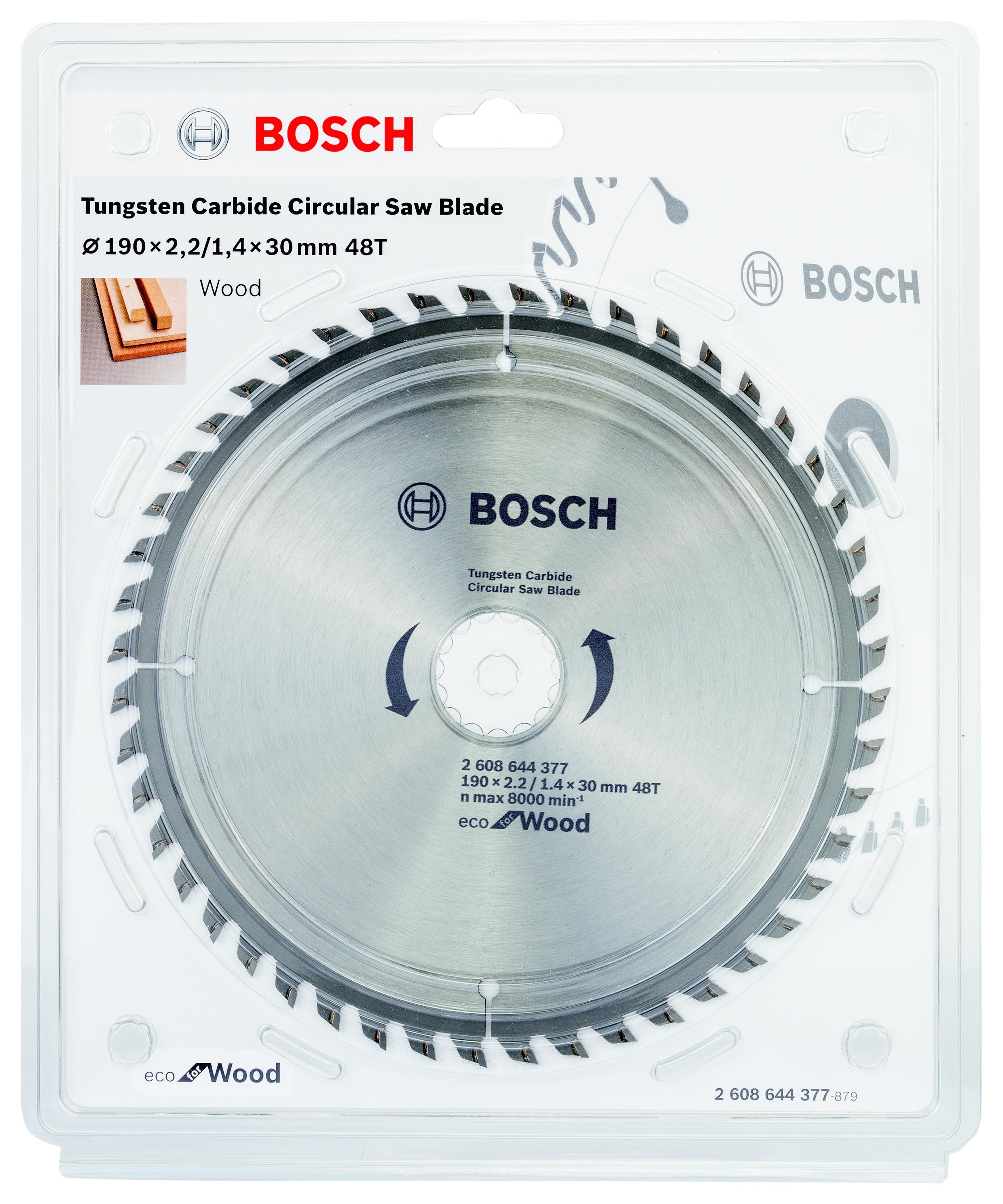 Диск пильный твердосплавный Bosch Eco wo 190x30-48t (2.608.644.377) пильный диск bosch exp wo 165x20 48t 2 608 644 024 ф165х20мм 48 зуб