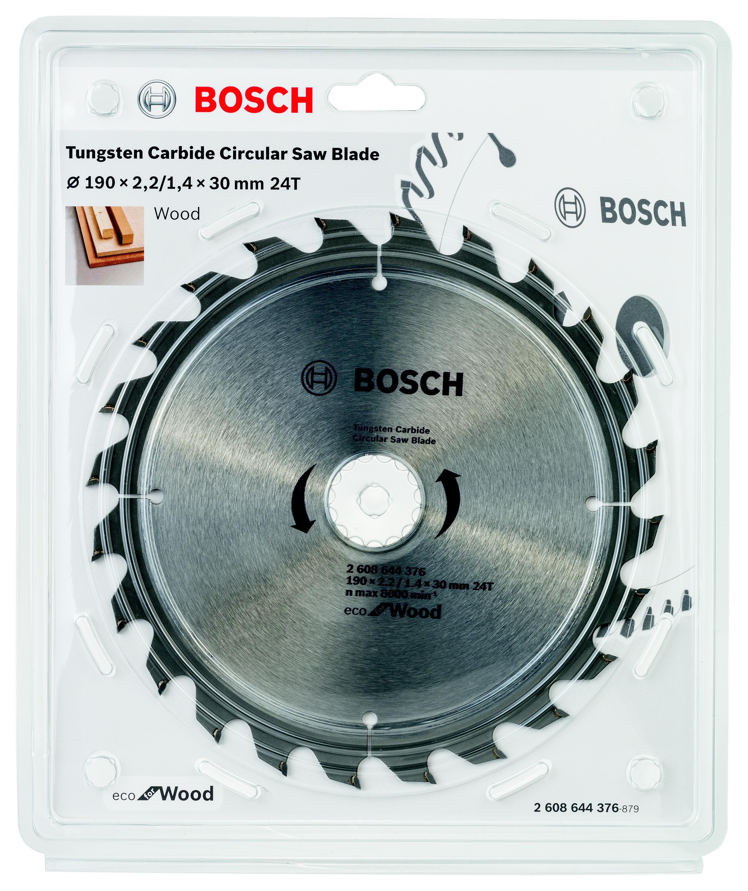 Диск пильный твердосплавный Bosch Eco wo 190x30-24t (2.608.644.376) циркулярный диск bosch 190x30 20 24 stand 2609256820