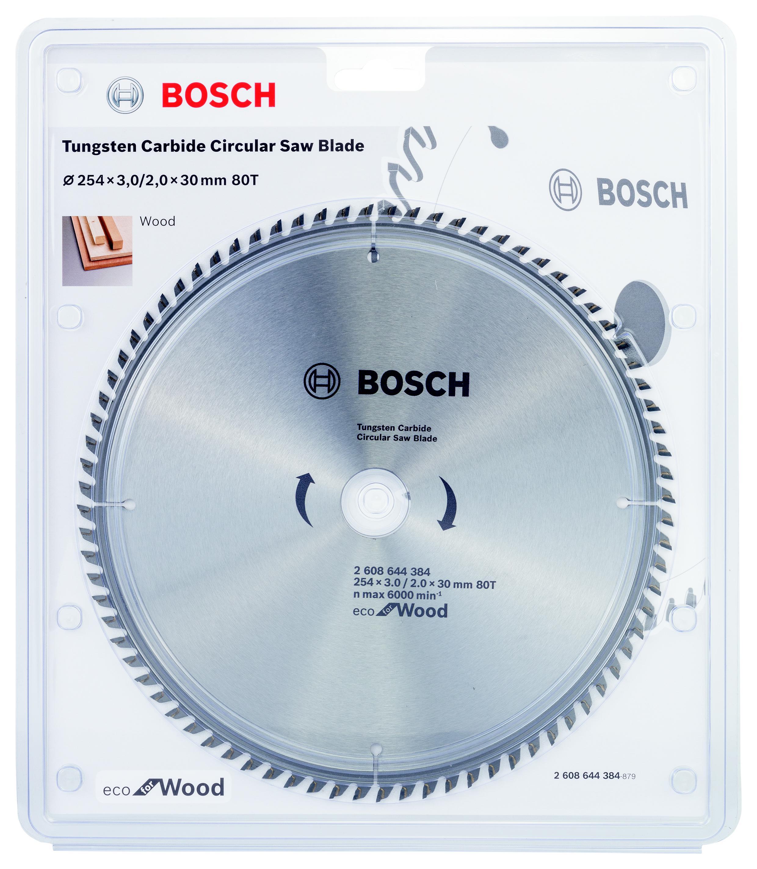 Диск пильный твердосплавный Bosch Eco wo 254x30-80t (2.608.644.384) диск пильный твердосплавный bosch eco wo 254x30 40t 2 608 644 383 по дереву