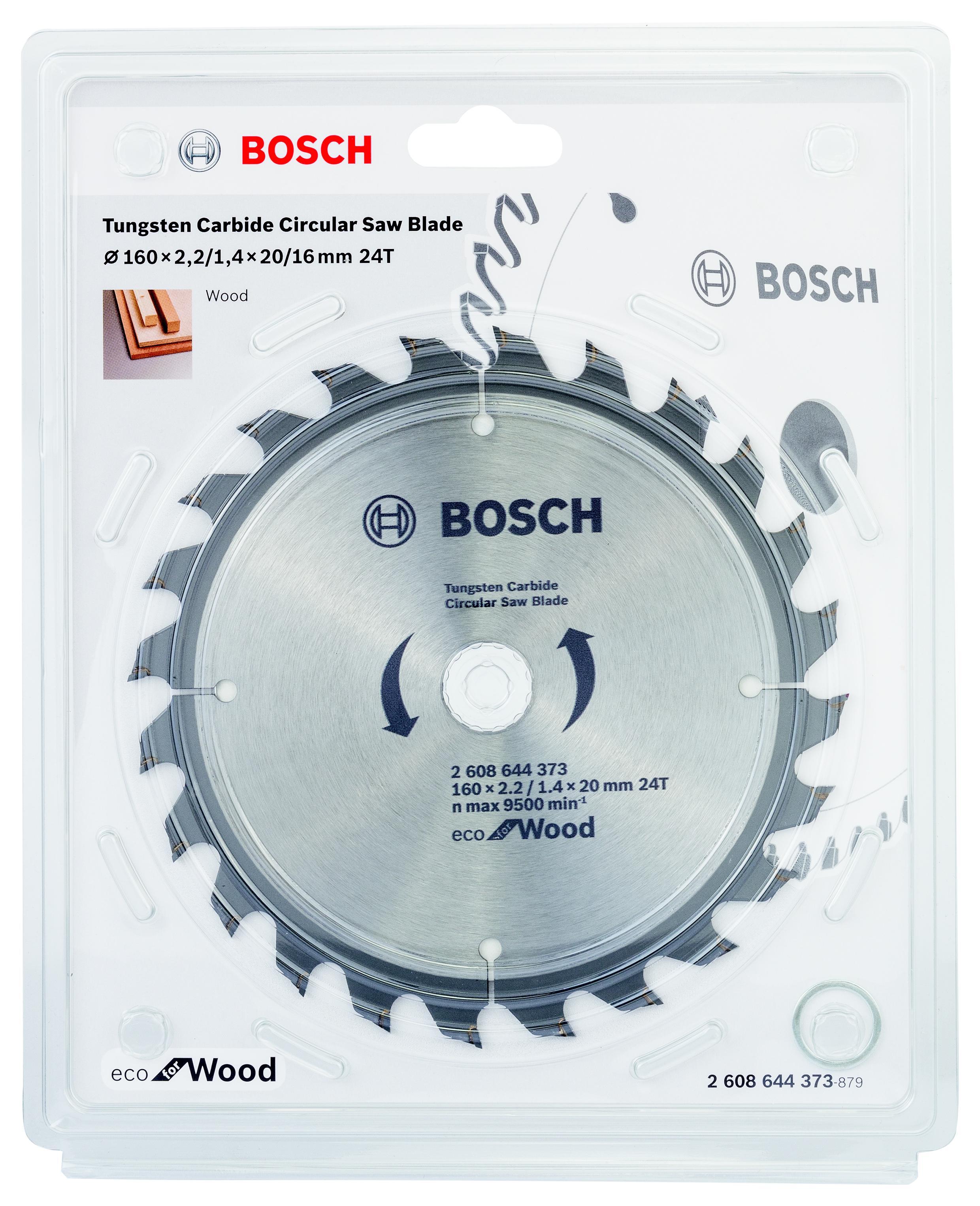 Диск пильный твердосплавный Bosch Eco wo 160x20-24t (2.608.644.373) bosch 2608644380 пильный диск eco wo 200x32 48t