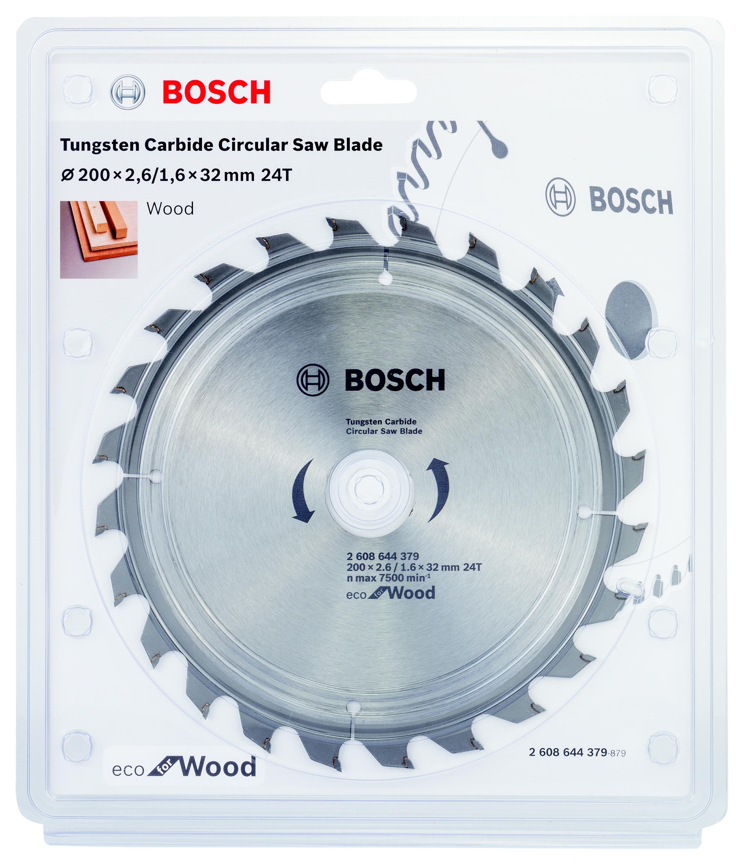 Диск пильный твердосплавный Bosch Eco wo 200x32-24t (2.608.644.379) набор bosch ножовка gsa 18v 32 0 601 6a8 102 адаптер gaa 18v 24