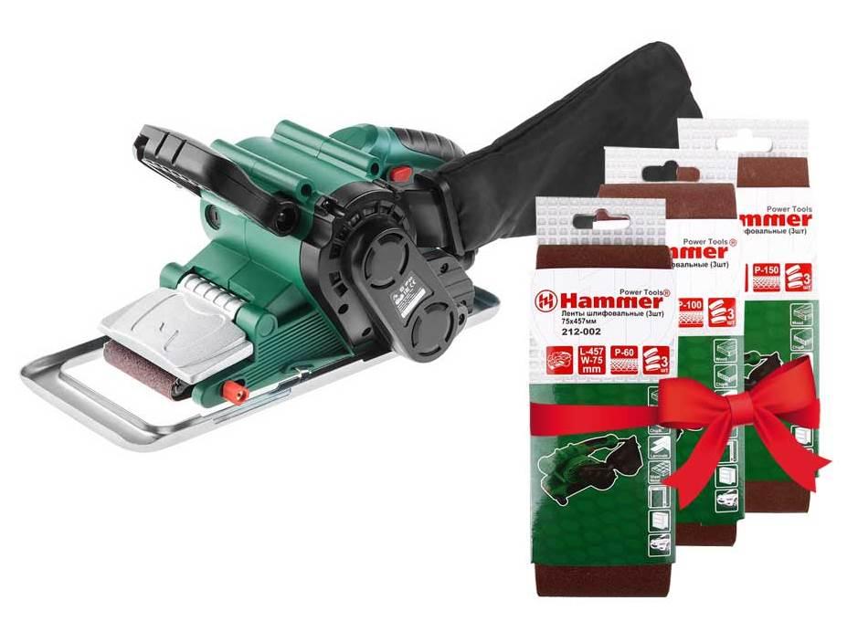 Набор Hammer шлиф.машинка lsm800b+лента шлиф. Р60, 100, 150