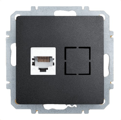 Розетка Zakru Za215405 Черный телефонная розетка abb bjb basic 55 шато 1 разъем цвет черный