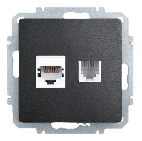 Розетка Zakru Za215406 Черный телефонная розетка abb bjb basic 55 шато 1 разъем цвет черный