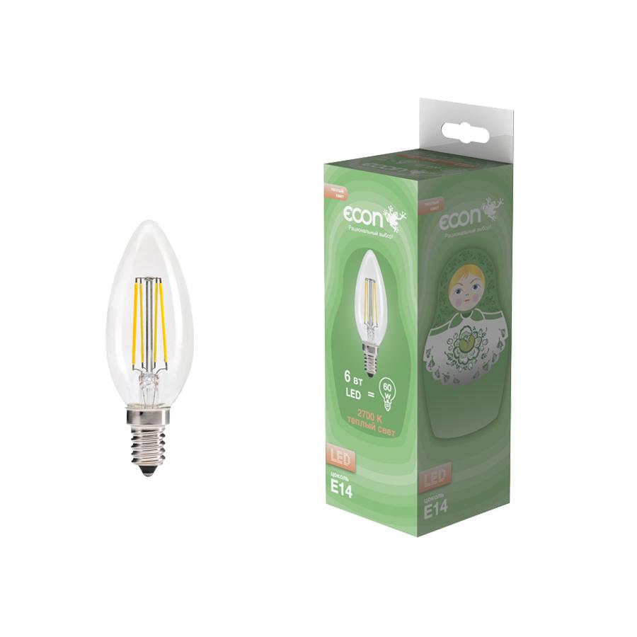 Лампа светодиодная Econ Led cn 6 Вт e14 2700 b35 fil